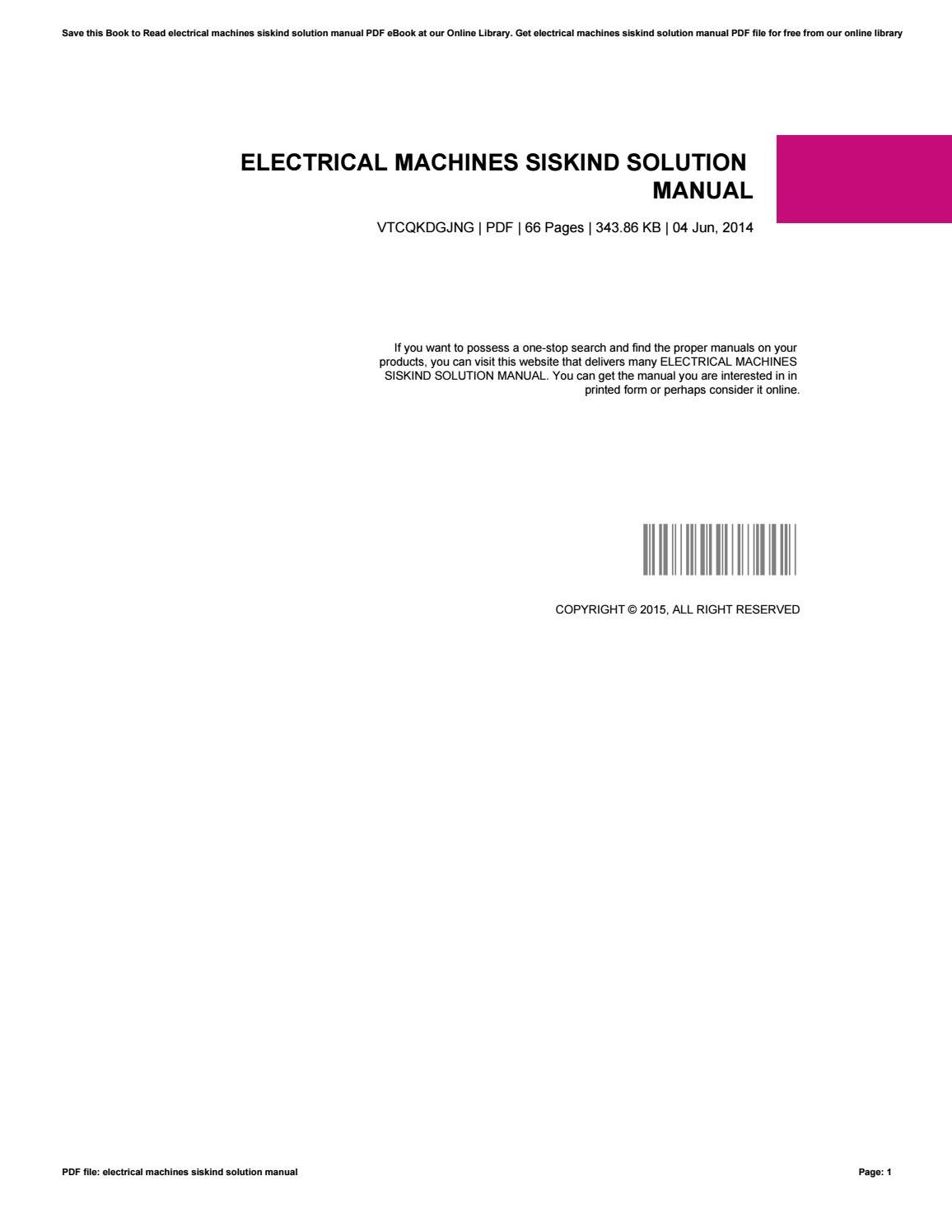 electrical machines by charles siskind solution manual